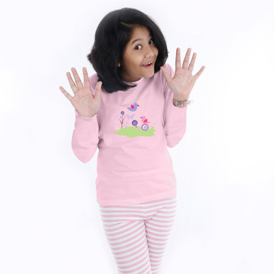 Pink Full Sleeve Girls Pyjama - Happy Birds